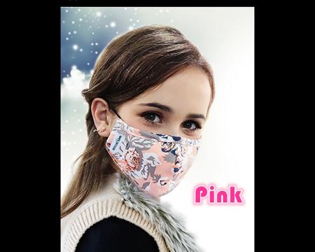 Mondmasker stof met Carbon filters pink (825489)